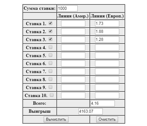 Калькулятор расчета в ставках