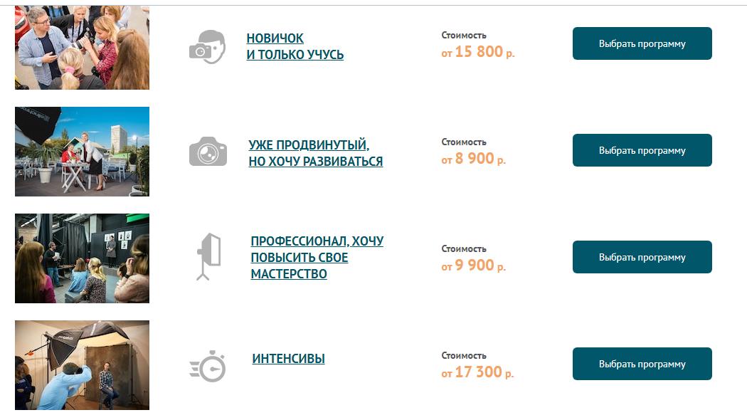 сколько стоят курсы на фотографа в россии