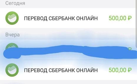 Переводы на Сбербанк