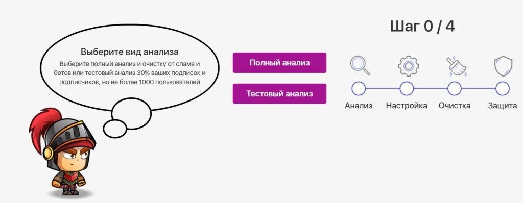 Выбор типа проводимого анализа