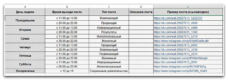 Расписание публикаций для ВК на неделю
